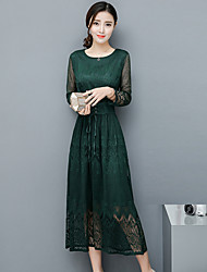 Women's Lace Casual/Daily Sheath Dress,Solid Round Neck Maxi ¾ Sleeve Rayon Spring Summer Mid Rise Micro-elastic Thin