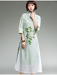 Sign Original hand-painted Collar Slim Sleeve dress cotton jumpsuit veil meditation Guqin tea service