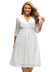 Women's Plus Size Surplice Lace Formal Skater Dress