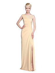 Lanting Bride® Floor-length Lace Jersey Furcal Bridesmaid Dress - Sheath / Column Jewel with Split Front Pleats