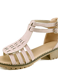 Women's Sandals Summer Fall Club Shoes PU Office & Career Party & Evening Dress Low Heel Buckle