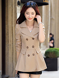 Women's Going out Casual/Daily Simple Spring Trench Coat,Solid Square Neck Long Sleeve Long Polyester