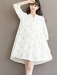 Women's Going out A Line Dress,Floral Stand Knee-length ½ Length Sleeve Linen Spring Summer High Rise Micro-elastic Thin
