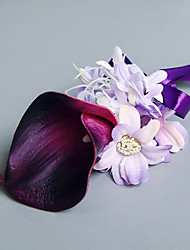 Wedding Flowers Free-form Lilies Peonies Boutonnieres Wedding Party/ Evening Pink / Purple Satin
