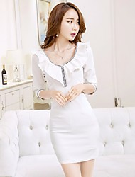 Women's Going out Party Bodycon Dress,Solid V Neck Midi ¾ Sleeve Silk Spring Summer High Rise Micro-elastic Thin