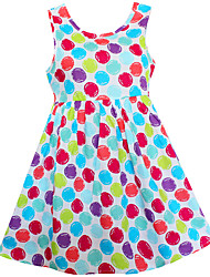 Robe Fille de Points Polka Coton Eté Printemps Sans Manches