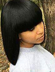 Diy-Wig Medium Long   Hair Black Straight hair Human Hair Capless Wigs For  Elegant  lady