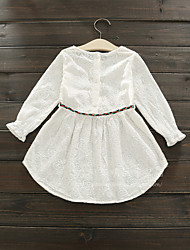 Girl's Casual/Daily Holiday Solid Dress,Cotton Fall Long Sleeve
