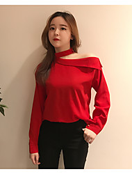 Really making Korea the new chic Western style Department of neck oblique strapless long-sleeved shirt female