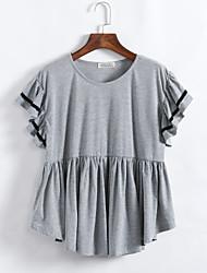 Damen Solide Übergröße / Street Schick Lässig/Alltäglich T-shirt,Rundhalsausschnitt Sommer Kurzarm Schwarz / Grau Baumwolle Mittel