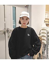 firmar nueva sección delgada de Corea suelta de manga larga jersey bordado de hojaldre