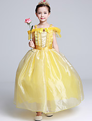 Ball Gown Tea-length Flower Girl Dress - Organza Satin Flocking Short Sleeve Off-the-shoulder with Crystal Detailing Ruffles