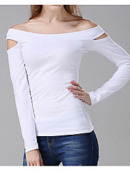 Women's Sexy T-shirt,Solid Off Shoulder Long Sleeve Cotton