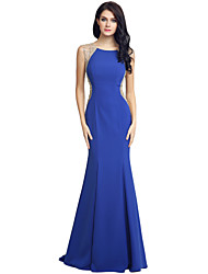 Mermaid / Trumpet Jewel Neck Sweep / Brush Train Jersey Formal Evening Dress with Beading