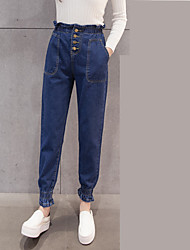 2017 spring and summer elastic waist jeans female feet Beam influx of students shut feet pants big yards wide Song Halun