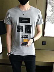 Masculino Camiseta Para Noite Casual Férias Simples Moda de Rua Activo Todas as Estações,Geométrica Algodão Decote Redondo Manga Curta