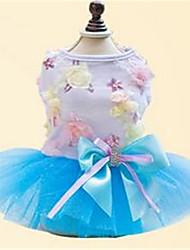 Chien Robe Vêtements pour Chien Printemps/Automne Nœud papillon Mignon Vert Bleu Rose