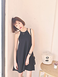 Sign outside the original spring and summer significantly thin black dress Xiaojian halter strap dress black sleeveless vest skirt