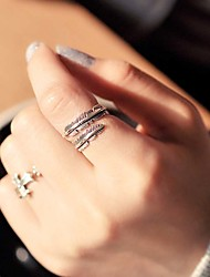 Vintage Style Antique Silver Midi Rings Chrome Feather Leaf Unique Design Punk Classic Jewelry Wedding Special Occasion Anniversary