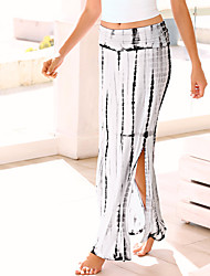 Women's Mid Rise Going out Casual/Daily Party/Cocktail Knee-length Skirts,Simple Swing Split Striped Summer Fall