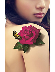 Temporary Tattoos Leg Body Flower Series 3D Waterproof Tattoos Stickers Non Toxic Glitter Large Fake Tattoo Body Jewelry Halloween Gift 22*15cm