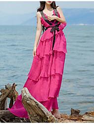 2017 nueva versión coreana del verano de las capas de hadas del cordón del vestido del arnés del día de fiesta de la muestra de la falda