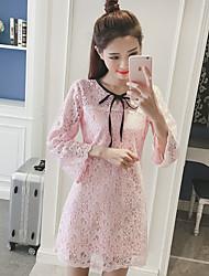 подписать весной 2017 нового лук круглого платья шеи шнурка втулка женщин платья рожок платья втулки