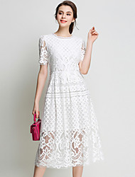 SUOQI Spring Fall Women For Dresses Solid Color Round Neck Short Sleeve Lace Dress Party Home Family Gathering Dress