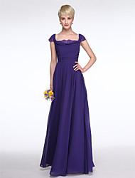 LAN TING BRIDE Floor-length Square Bridesmaid Dress - Elegant Beautiful Back Short Sleeve Chiffon