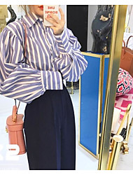 Manchar o passeio retro temperamento áspero vertical listrada colar feminino camisa puff