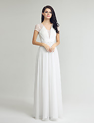 Sheath / Column Wedding Dress Floor-length V-neck Chiffon with Lace