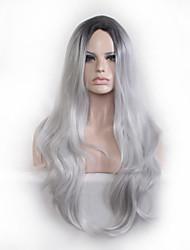 Cosplay wag 28 Zoll schwarz grau Steigung lockige Haar Perücken