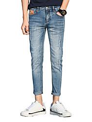 Homme Vintage simple Street Chic Taille Basse Micro-élastique Jeans Chino Pantalon,Mince Couleur Pleine