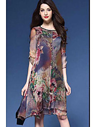 Large size women's spring and summer high-grade heavy silk printed silk dress and long sections