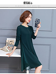 Sign 2017 spring new large size women knitted dress long section