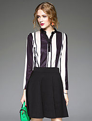 Real shot female autumn new Korean striped long-sleeved dress ladies temperament Slim small fresh