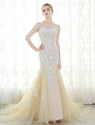 Mermaid / Trumpet Illusion Neckline Cathedral Train Tulle Wedding Dress with Lace by MMHY