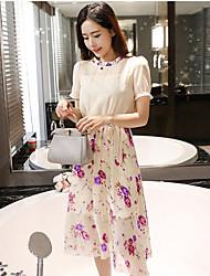 Clearance real shot summer 2017 Korean version of the small fresh floral chiffon dress Slim was thin dress