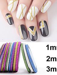 18PCS Varisized Mixs Color Dull Polish Glitter Powder Striping Tape Line Nail Stripe Tape Nail Art Decoration Sticker