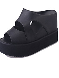 Damen Sandalen Fersenriemen PU Sommer Normal Walking Fersenriemen Ausgehöhlt Keilabsatz Weiß Schwarz 5 - 7 cm