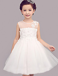 Ball Gown Knee-length Flower Girl Dress - Chiffon Lace Organza Satin Tulle Sleeveless Jewel with Bow(s) Draping Embroidery Lace