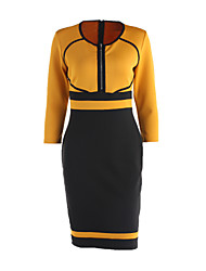 Women's Vintage / Simple / Street chic Color Block A Line / Bodycon Dress,Round Neck Knee-length Cotton / Polyester