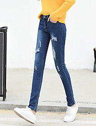 Sign spring new Korean high waist hole jeans female student was thin stretch pencil pants female feet