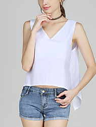 Women's Going out Beach Sexy Simple Spring Summer Shirt,Print V Neck Sleeveless Bamboo Fiber Opaque