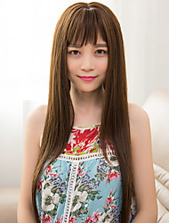 Fashion Brown Color Full Bang Straight Wigs For European and Black Women