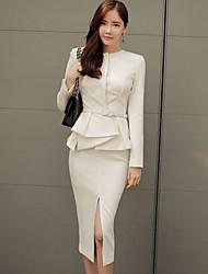 2016 moda nova temperamento fecho bolsos quadril branco de duas peças terno de mangas compridas vestido feminino carreira