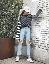 Sign new Slim knee hole jeans female beggar pants loose light-colored washing frayed trousers