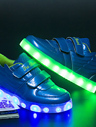 Girl and Boys' Sneakers Summer Fall Light Up Shoes Luminous Shoe Patent Leather Casual Flat Heel Lace-up Running