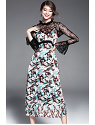 Women's Going out Cute Chiffon Dress,Floral Crew Neck Maxi Long Sleeve Polyester Spring Summer High Rise Inelastic Medium