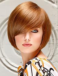 Maysu High Quality Heat Resistant Wig Cute Fringe Straight Bob Human Hair Capless Wigs For Women